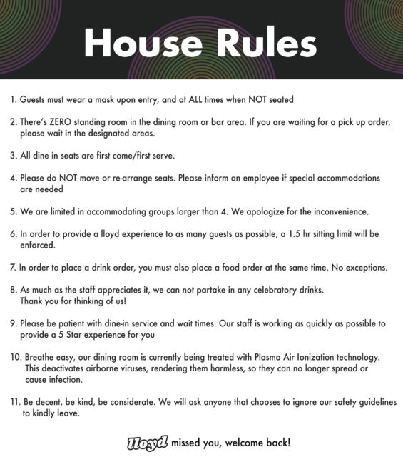 lloyd COVID Dine-In House Rules 1